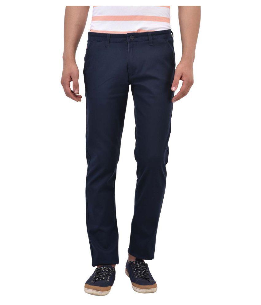 Blue Buddha Navy Blue Slim Flat Trousers