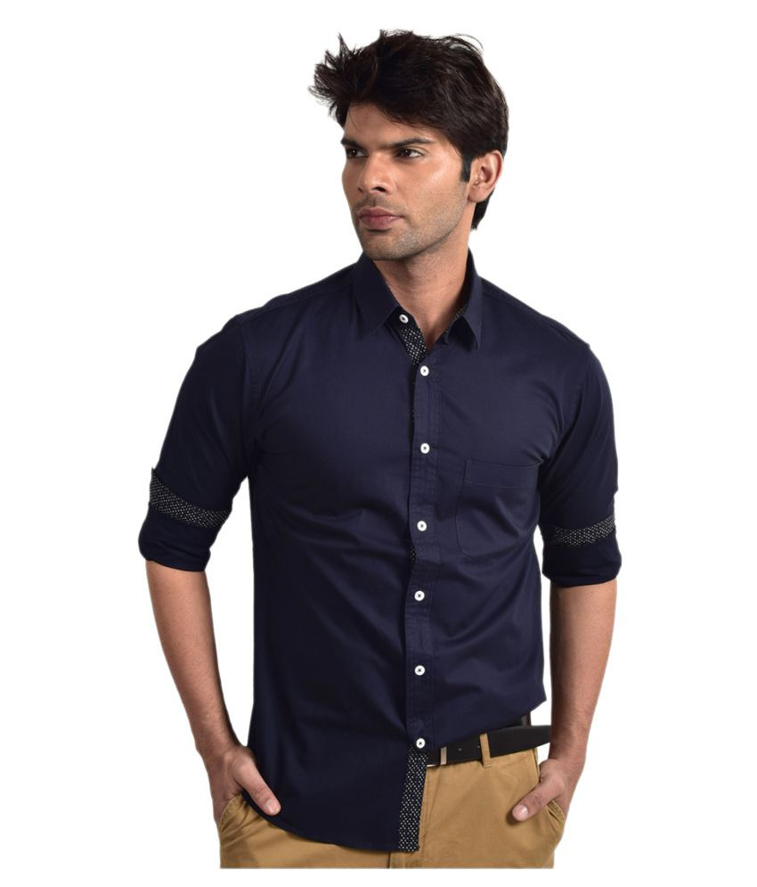 Bluvior Navy Casuals Slim Fit Shirt