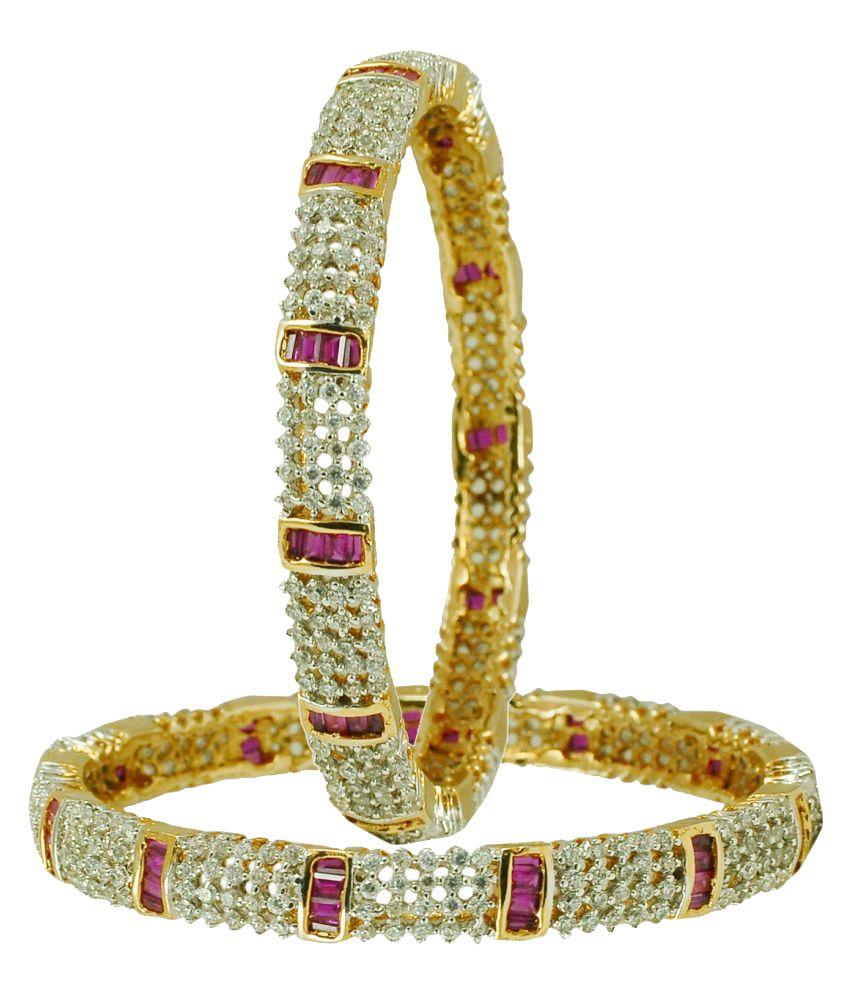 Maalyaa Gold Plated American Diamond Pair of Bangle