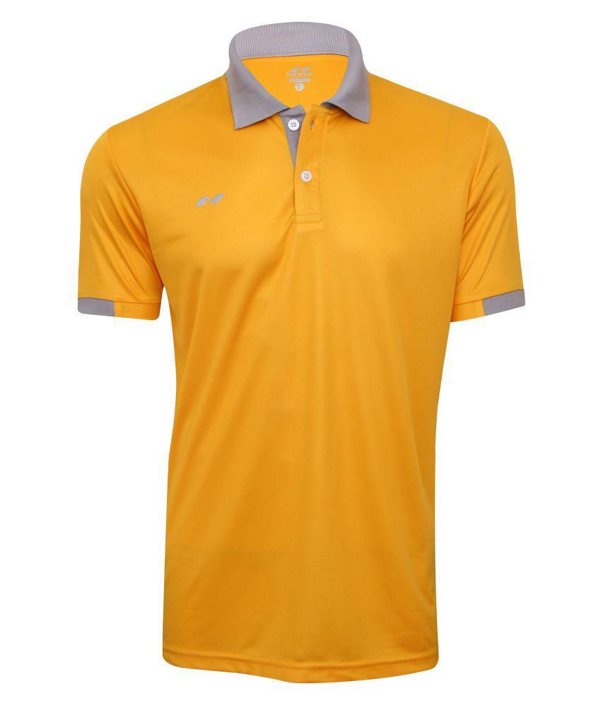 Nivia Yellow Polyester Polo T-shirt