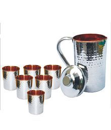 Veda Home & Lifestyle Veda Copper Jug Set 7 Pcs Jug And Glass Combo