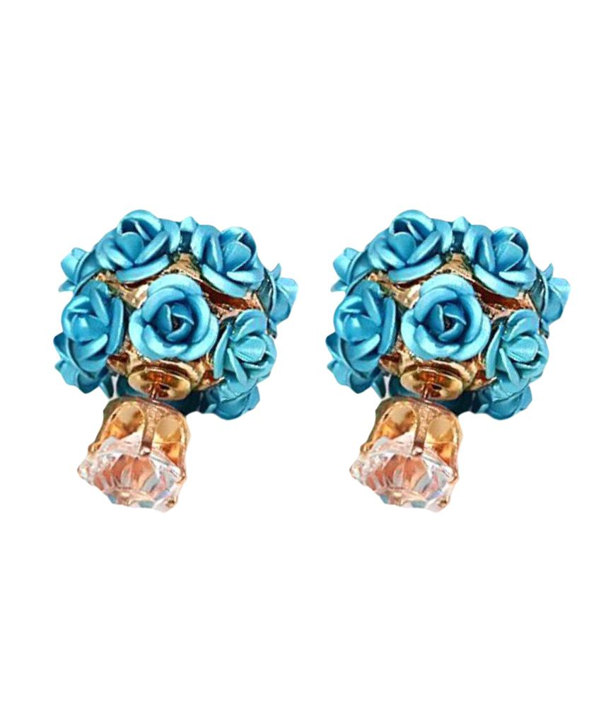 Jewels Galaxy Blue Rose Designer Stud Earrings