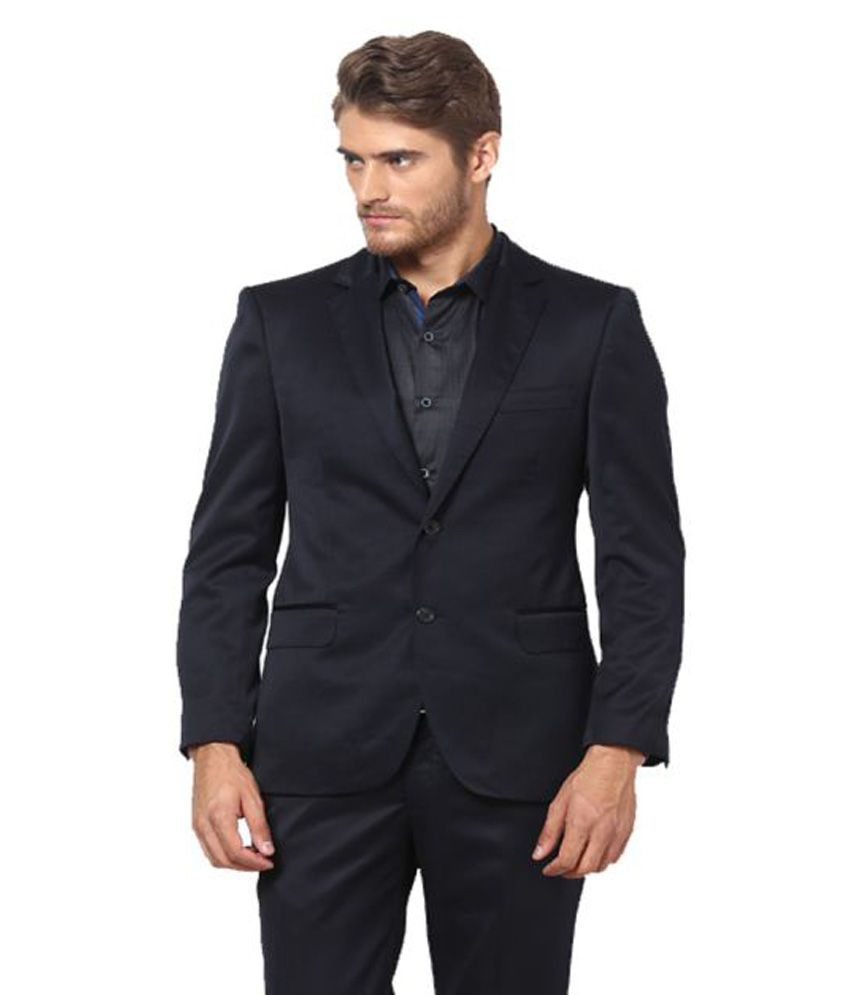 Lee Marc Black Solid Formal 2 Piece Suits