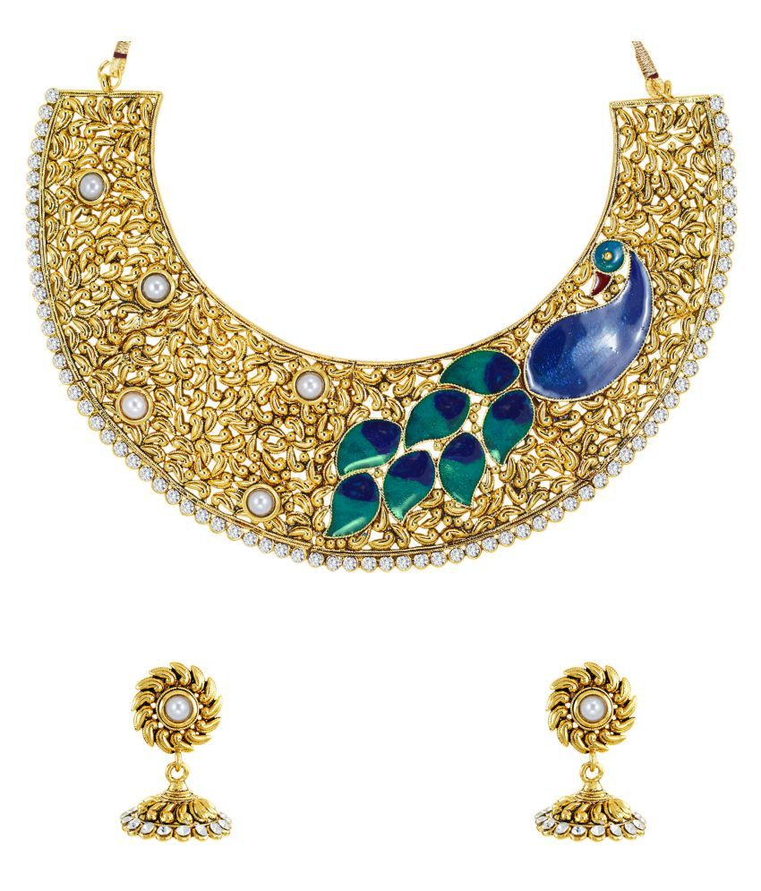 Zaveri Pearls Golden Peacock Design Necklace Set - Buy Zaveri ...