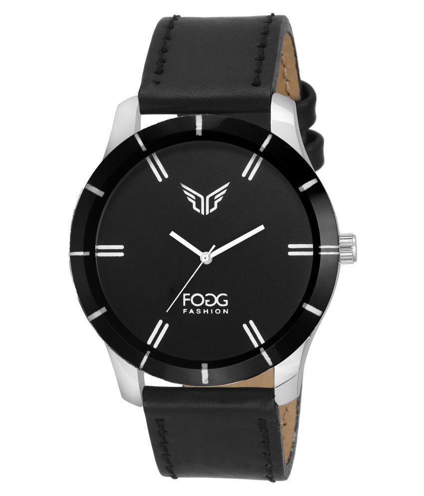 Fogg Black Leather Analog Watch
