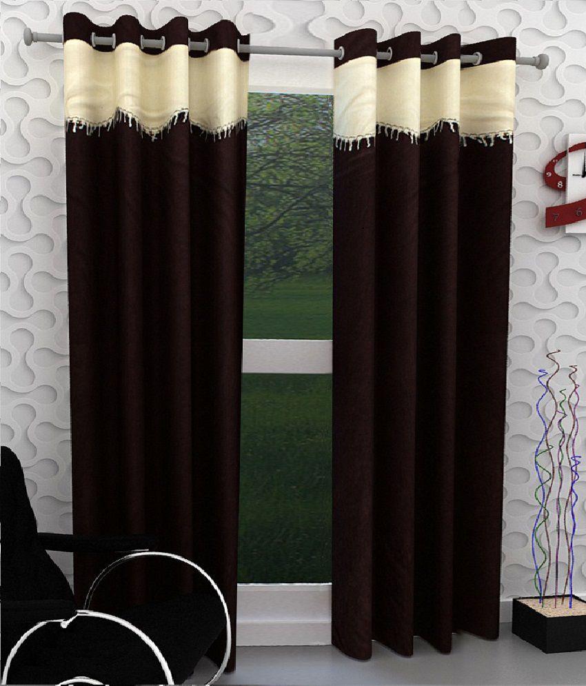 Tanishka Fabs Set of 2 Door Eyelet Curtains  Brown