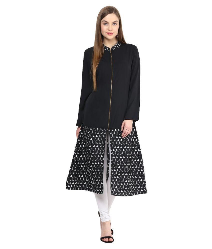 Bhama Couture Black Cotton Front Slit Kurti