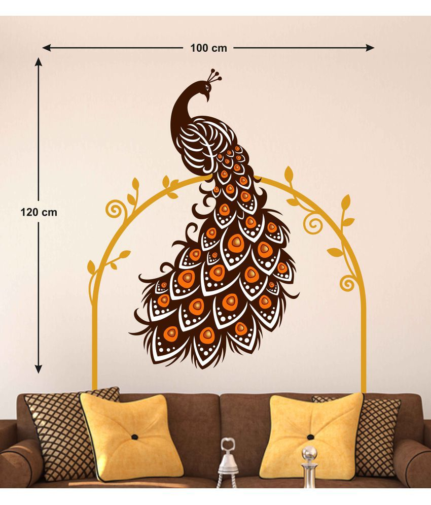 Stickerskart Wall Stickers Wall Decals Beautiful Peacock On Vine