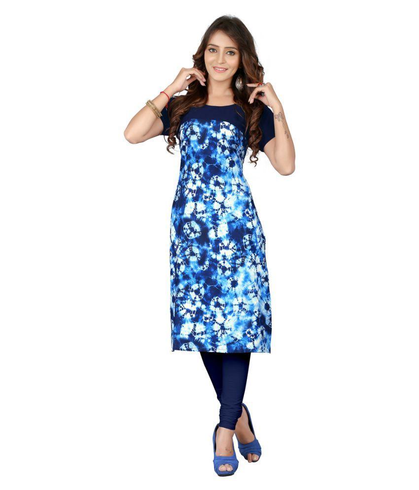 Fashionsurat Blue Crepe Straight Kurti