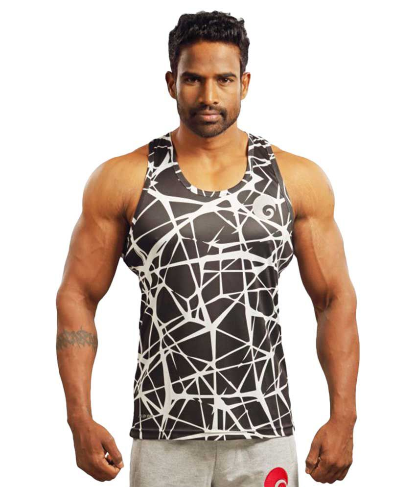 Omtex Black Polyster Criss Cross Sublimated Gym Tank
