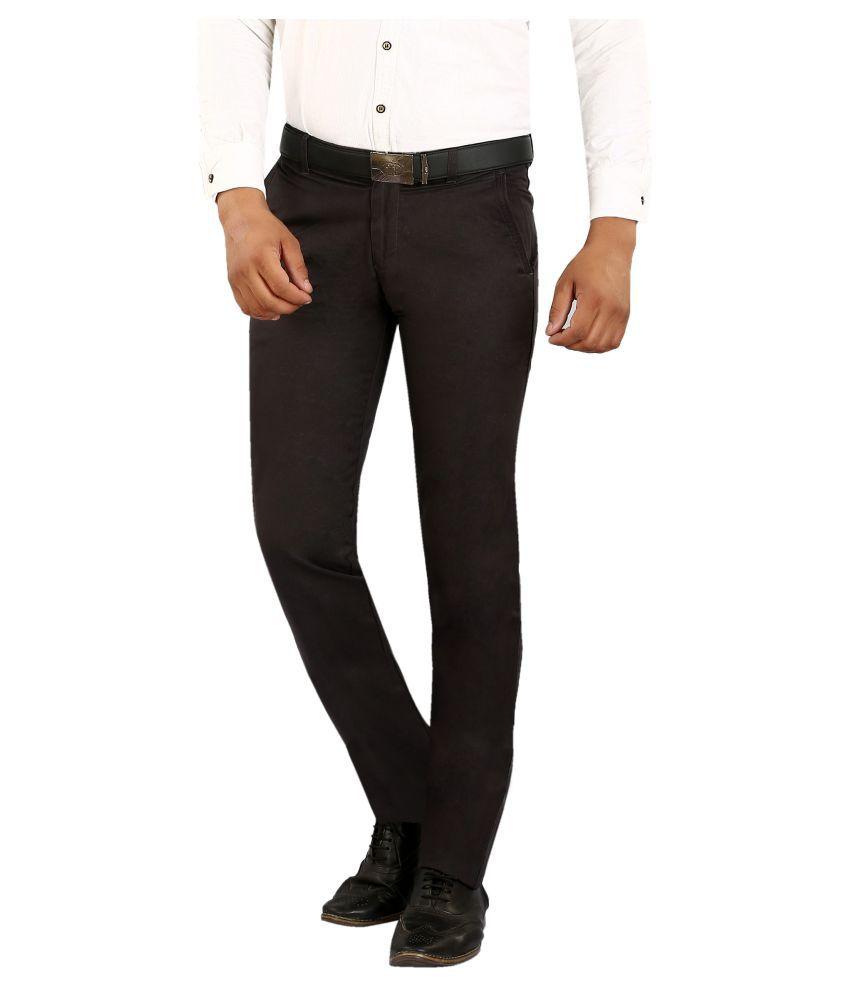 Pecos Bill Dark Brown Slim Flat Trousers
