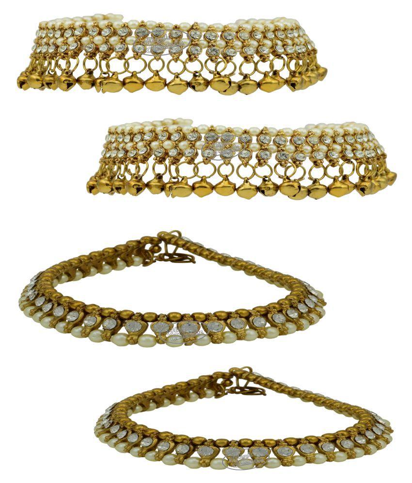 High Trendz Gold Plated Cubiz Zirconia Stone Anklet Combo