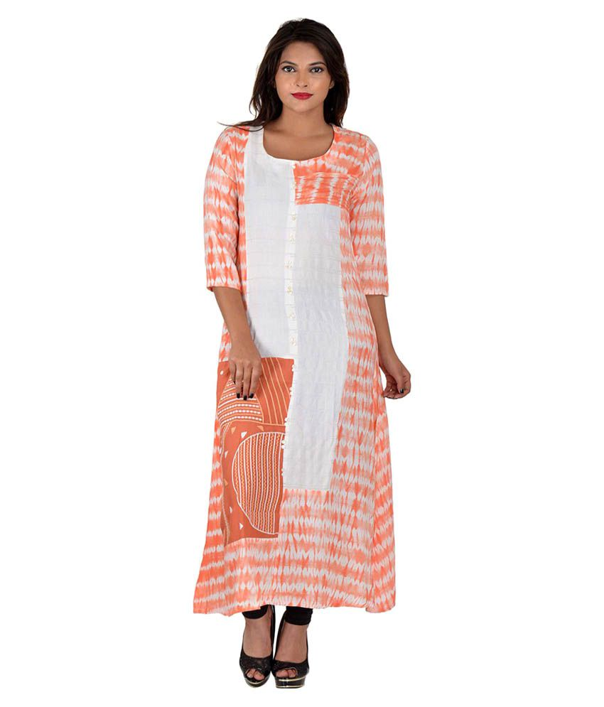 Rang Rohi Peach Cotton Straight Kurti