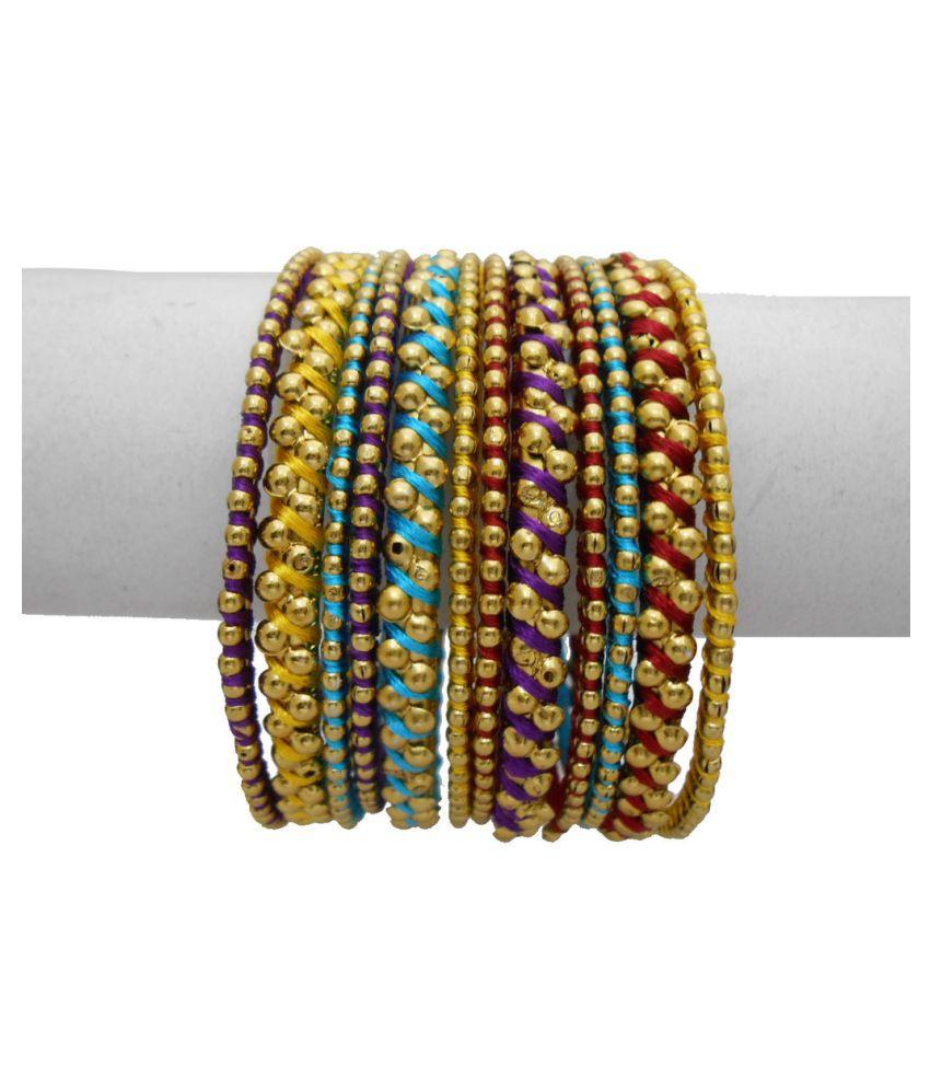 My Design Multicolour Thread Bangles Set of 12