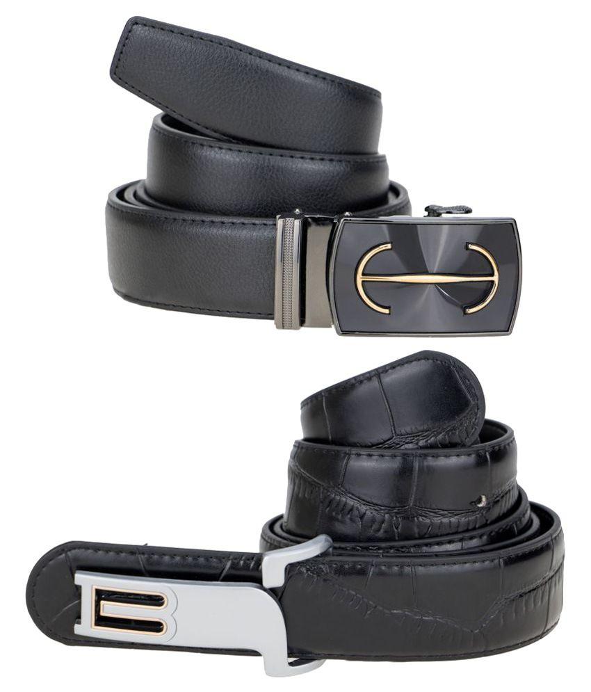 Kaos Black Leather Formal Belts