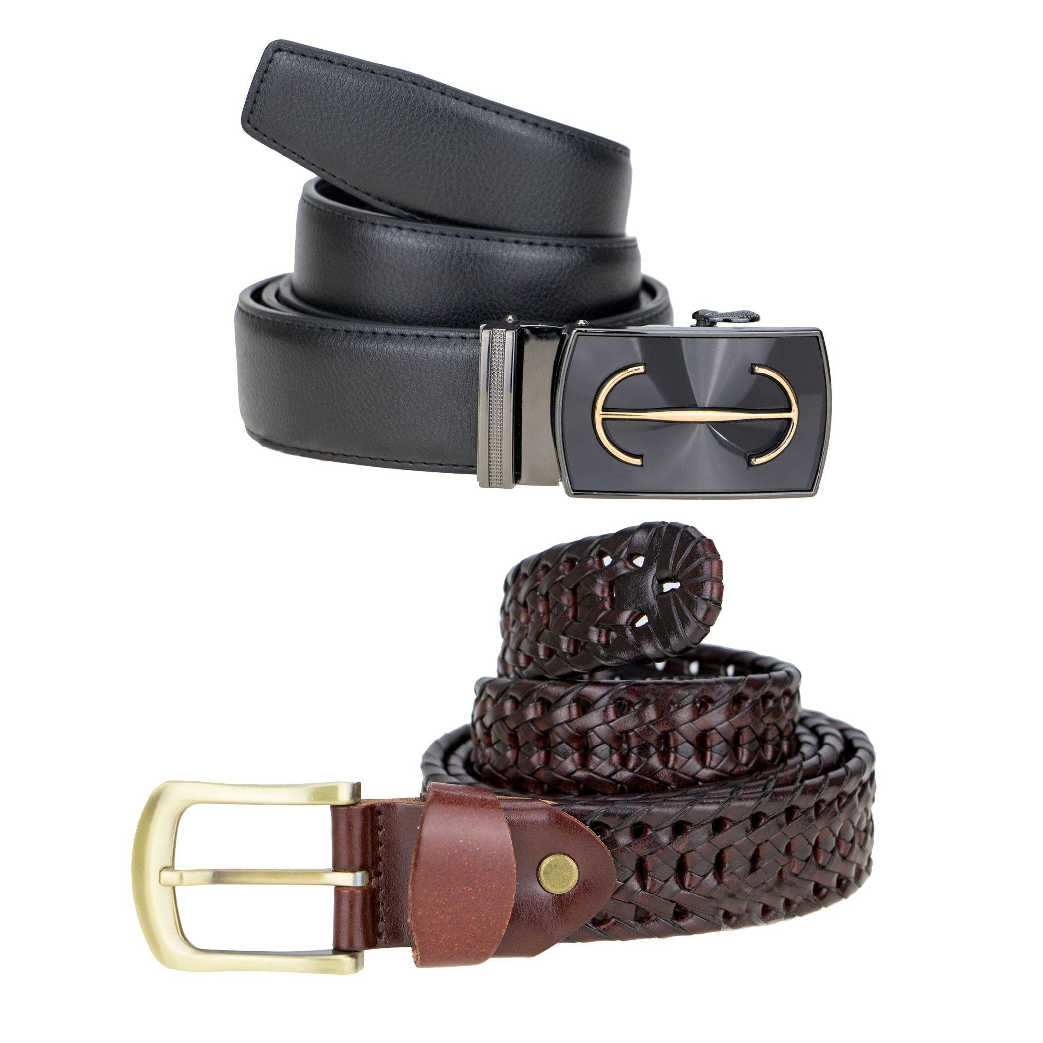 Zeva Multi Leather Formal Belt Pack of 2