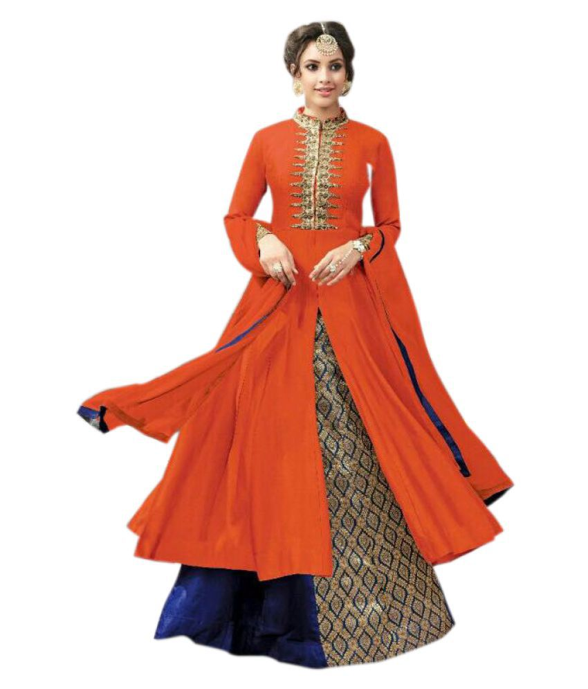 Aika Red and Orange Cotton Straight Semi-Stitched Suit
