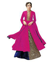 Active Feel Free Life Pink Cotton Anarkali Semi-Stitched Suit