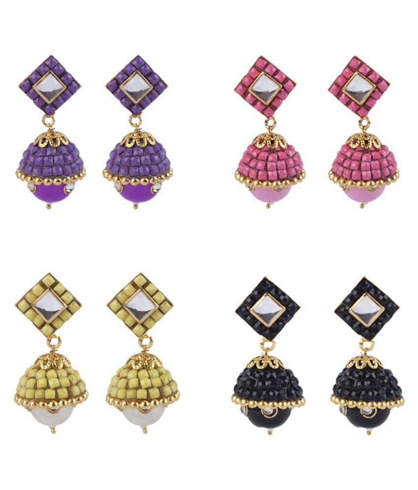Makezak Multicolour Rhodium Plated Designer Hanging Earrings - Pack of 4