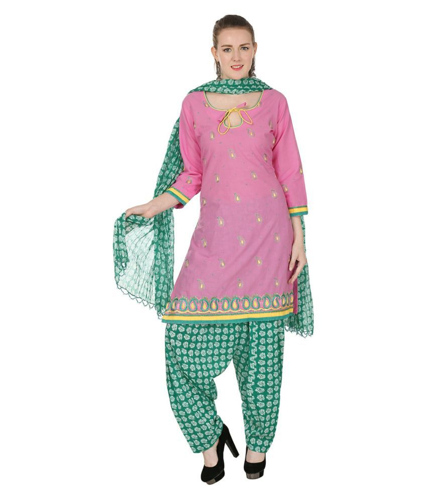 Lamizor Ethnic Wear Pink Cotton Straight Stitched Suit