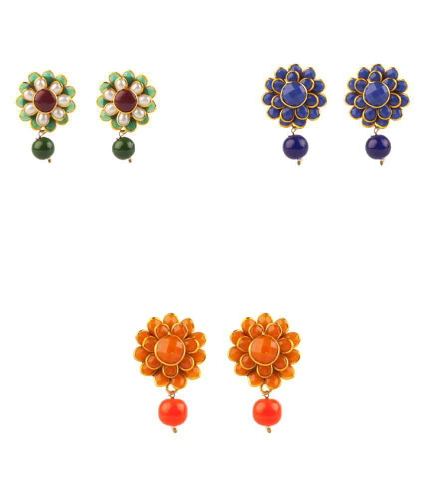 Makezak Multicolour Beautiful Earrings Combo for Women - Pair of 3