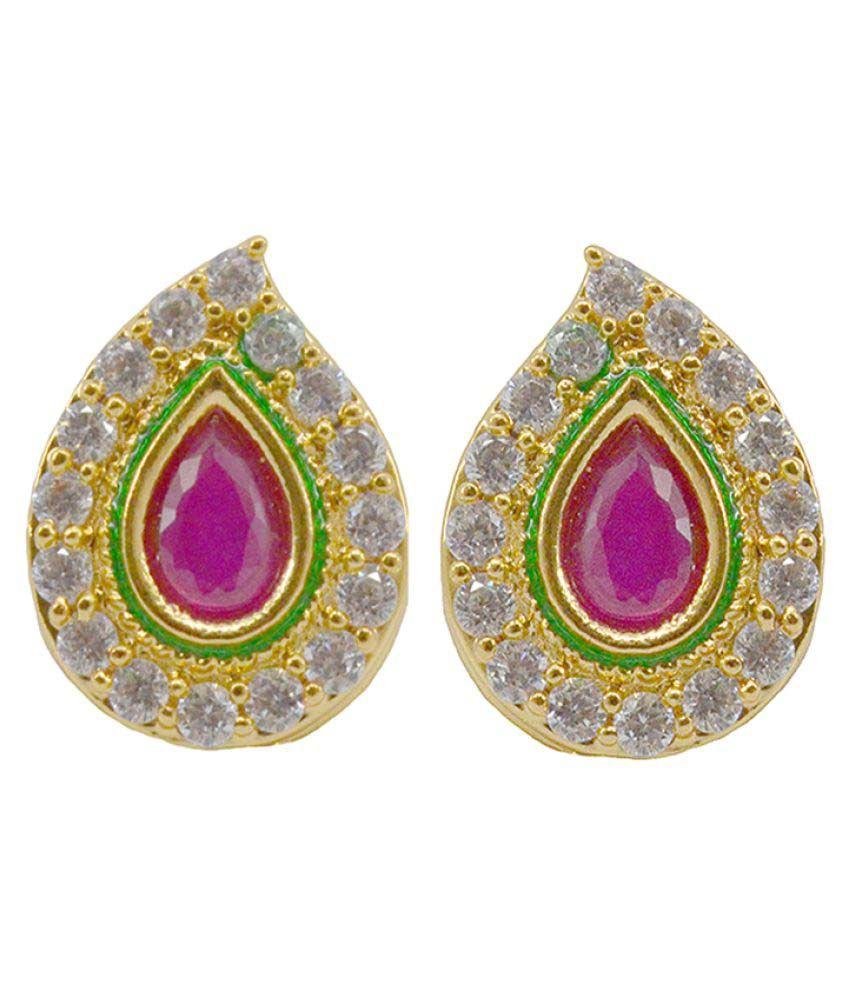 Saloni Fashion Jewellery Latest Bollywood Style Multicolour Ruby Enamel (Meena) American Diamond Stud Earrings