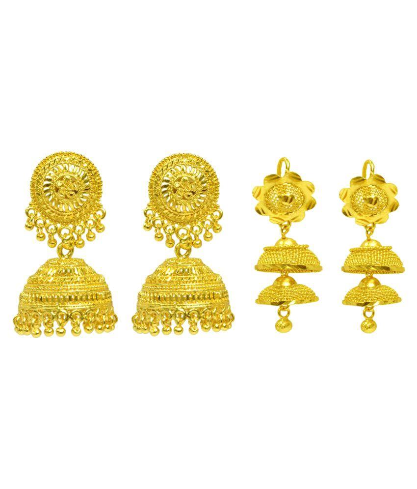 Sourav Pair of 2 Golden Color Jhumki