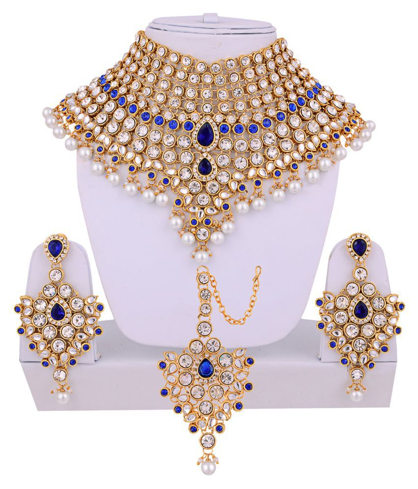 Lucky Jewellery Blue Designer Wedding & Engagement Partywear Necklace set With Maang Tikka