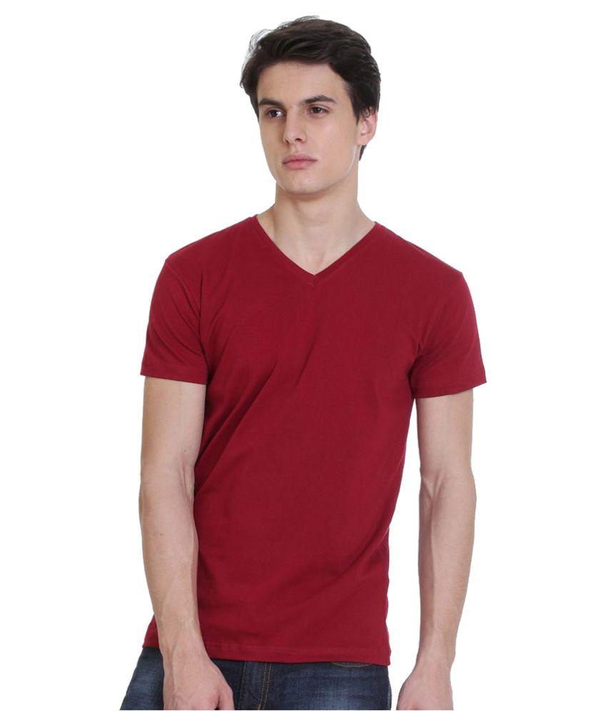 Rocx Maroon V-Neck T-Shirt