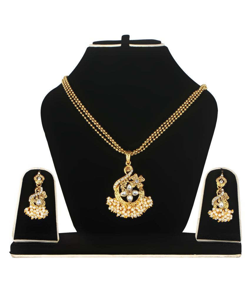 Femila Alloy Gold Plated Pearl Necklace Set