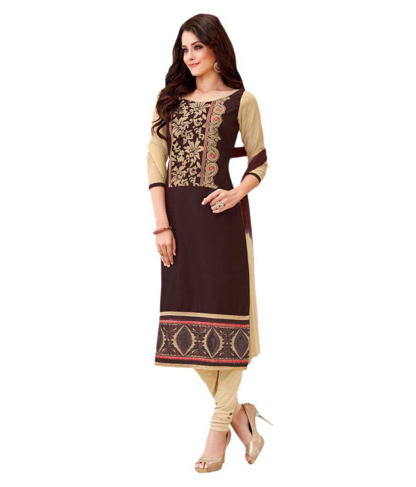 Nikki Fab Brown Cotton Dress Material
