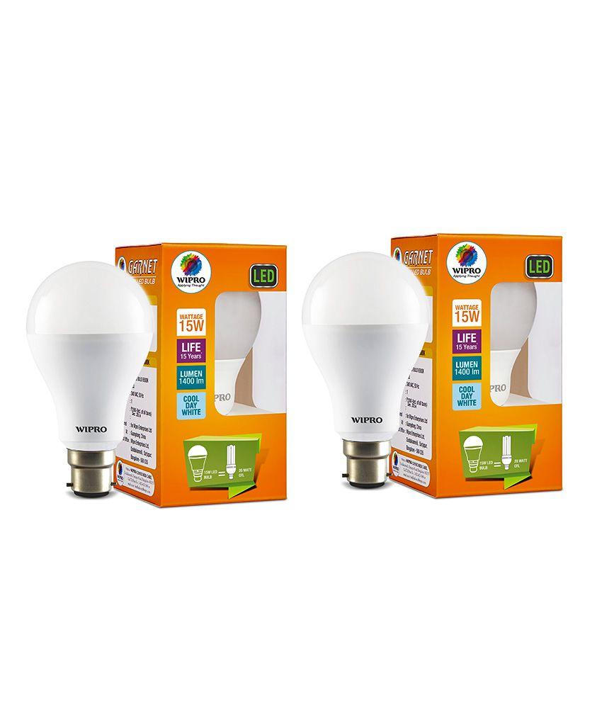 wipro 15w pack of 2 led bulbs