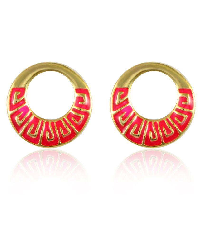 Sarah Pink Greek Key Pattern Round Enamel Earrings