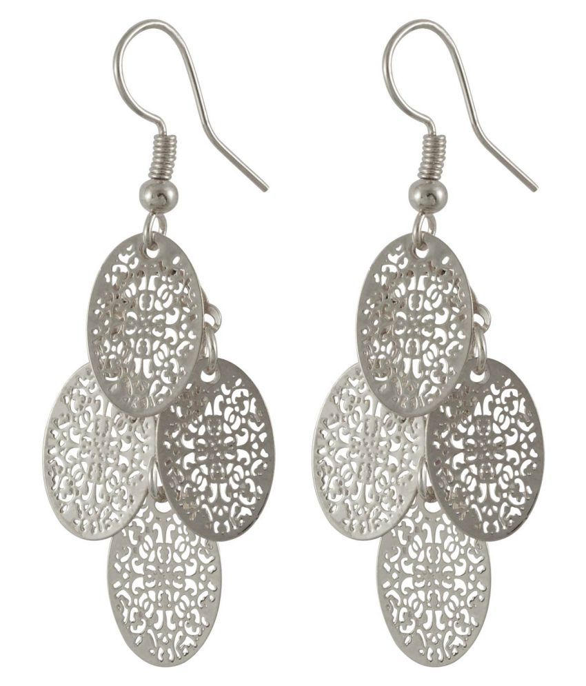 Sarah Silver Oval Shaped Filigree Hanging Earrings