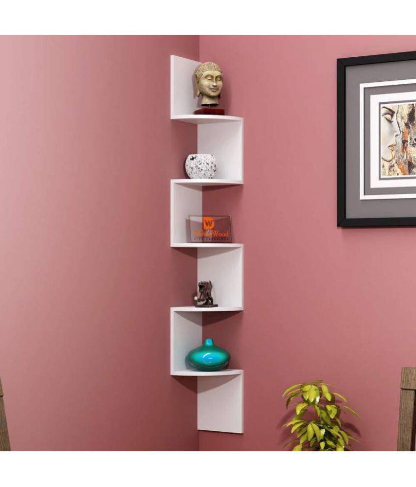 India Wooden Handicraft Wood Floating Shelf/ Wall Shelf / Storage Shelf/ Decoration Shelf White   Pack of 1
