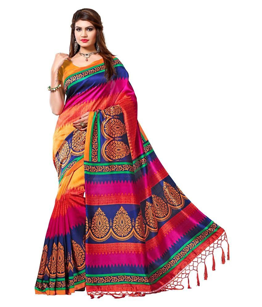 Sanskriti Designers Red And Brown Bhagalpuri Silk Saree