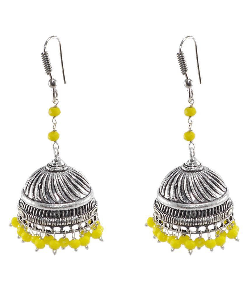 Silvesto India Antique Crystal Silver Jhumki Earrings