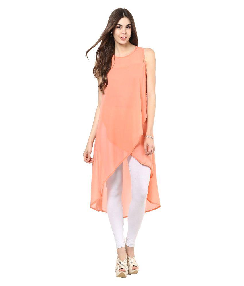 La Firangi Peach Georgette Asymmetrical Hemline Kurti