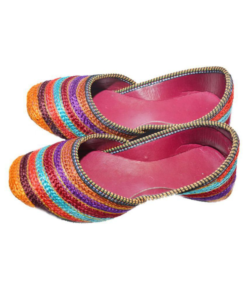 The Rajasthali Multi Color Flat Ethnic Footwear