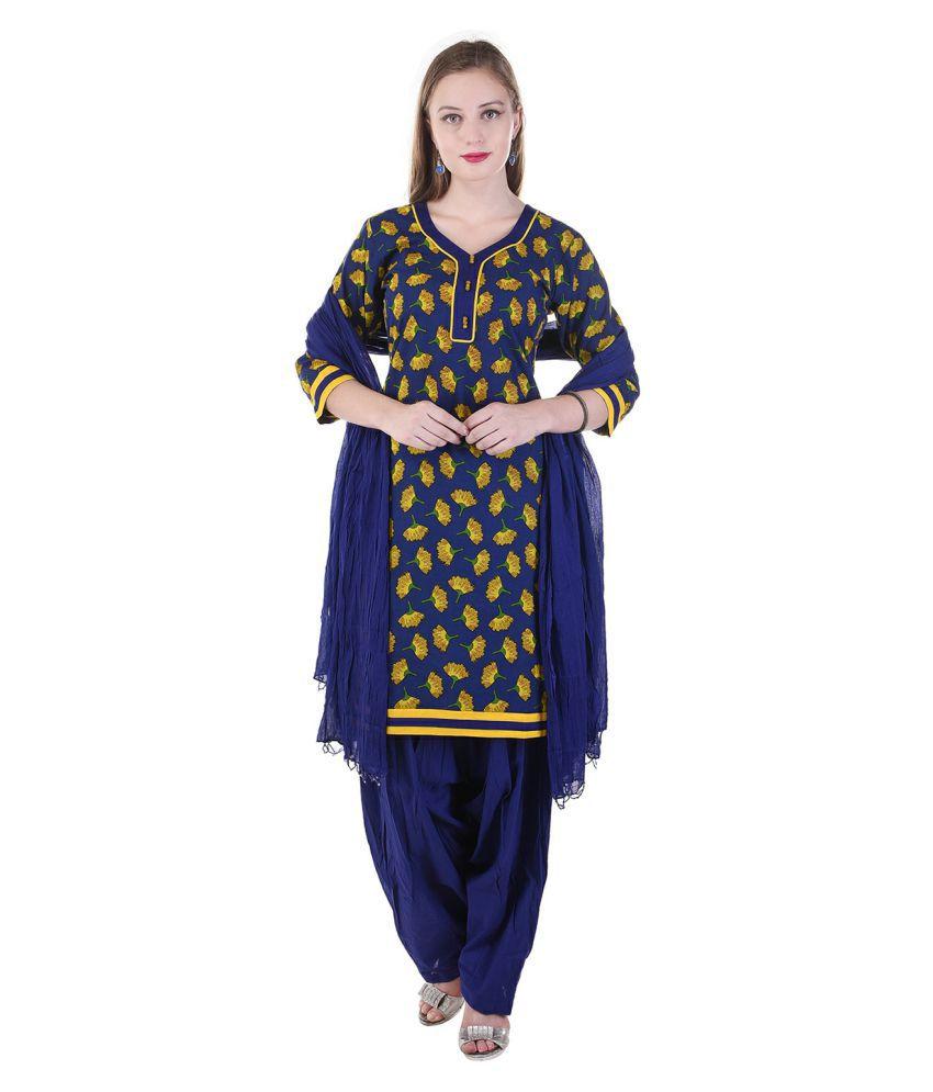 Lamizor Ethnic Wear Blue Cotton Straight Stitched Suit