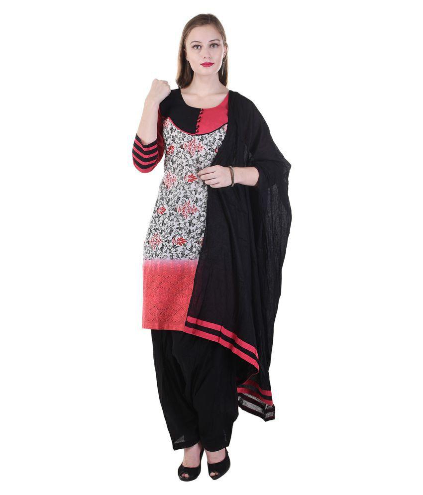 Lamizor Ethnic Wear Multicoloured Cotton Straight Stitched Suit
