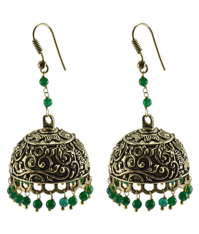 Silvesto India Golden Brass Jhumkis