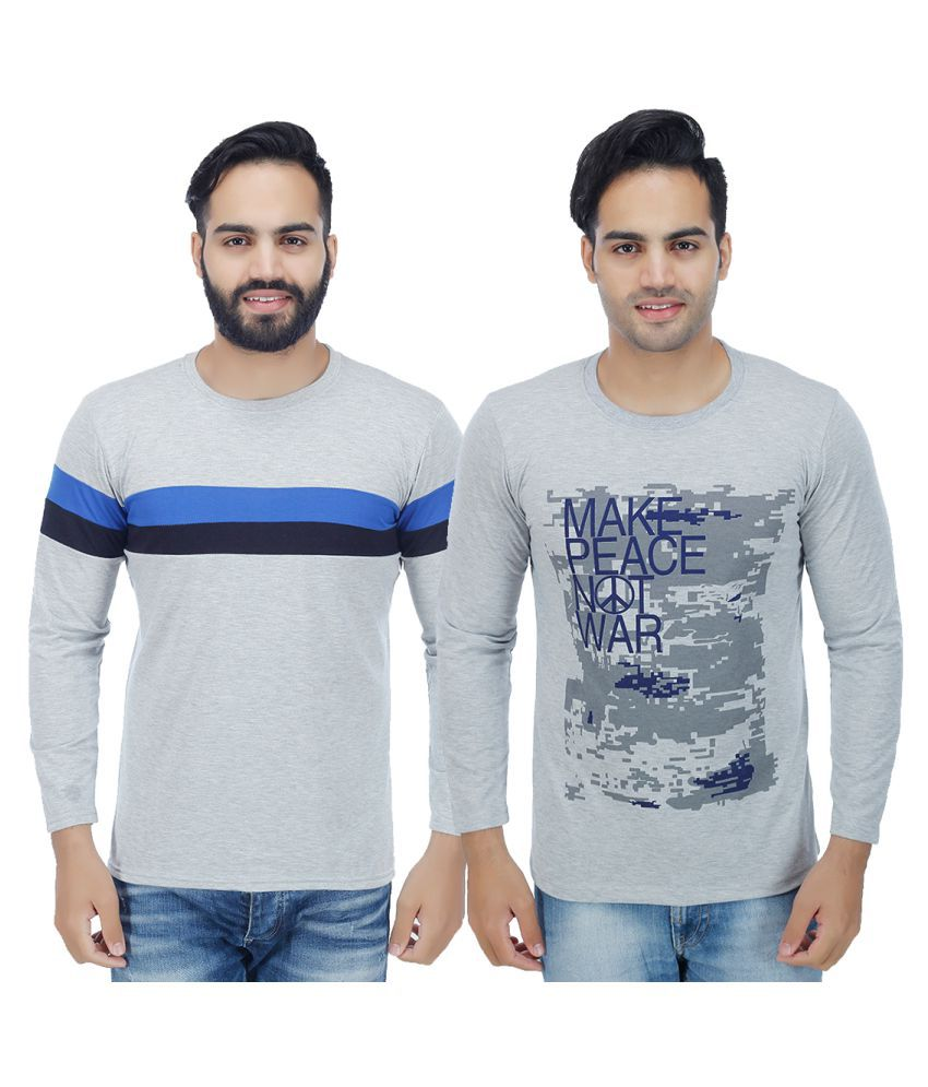 Sanvi Traders Grey Round T-Shirt Pack of 2