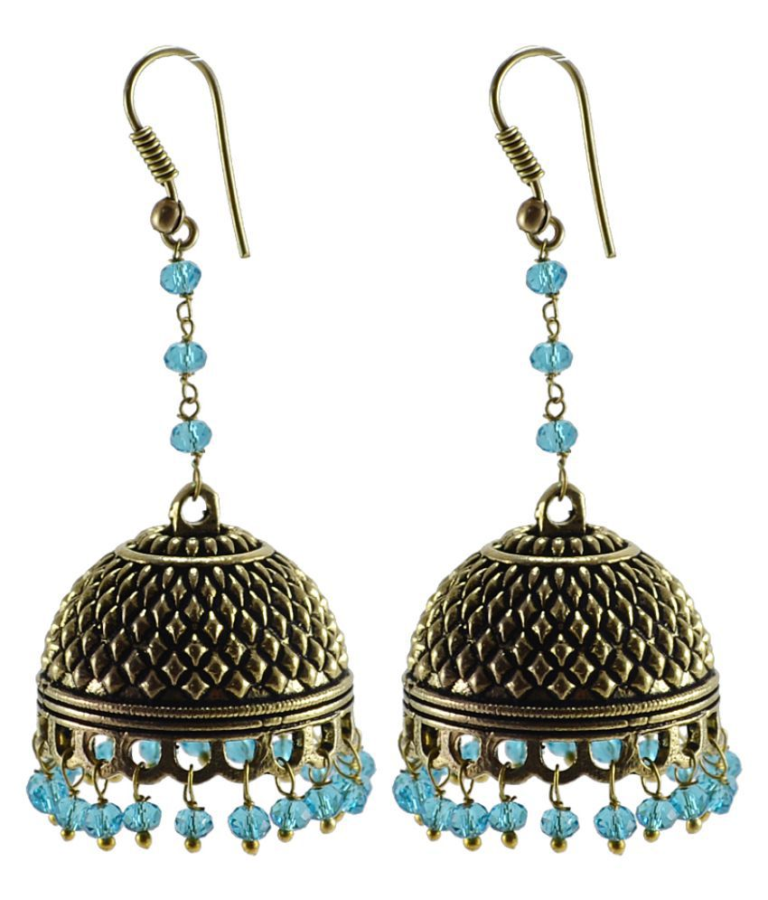 Silvesto India Yellow Jhumki Earings