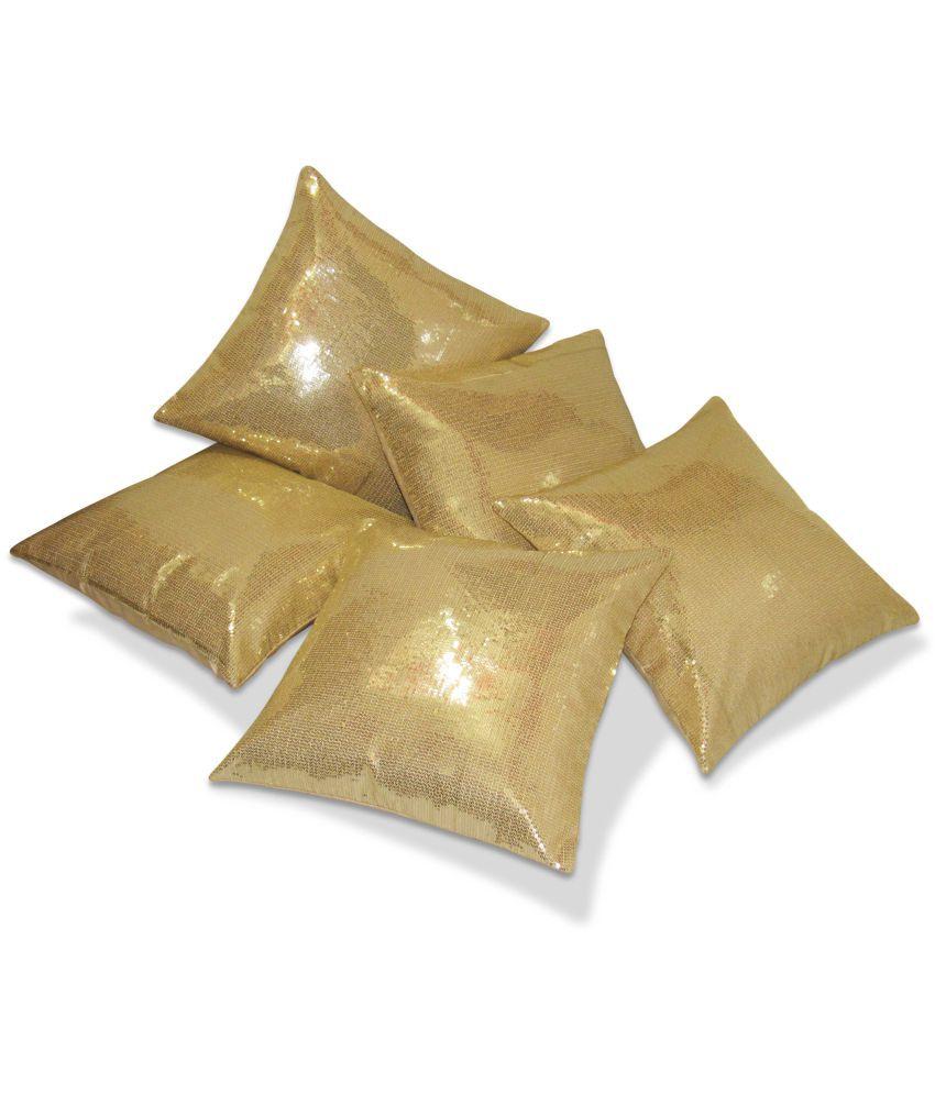 Zikrak Exim Set of 5 Poly Dupion Cushion Covers 30X30 cm (12X12)