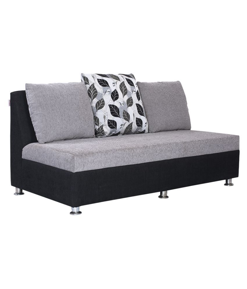Corner Sofa Set Price In Hyderabad: Bharat Lifestyle Lavis L-Corner Black & Grey Fabric Sofa