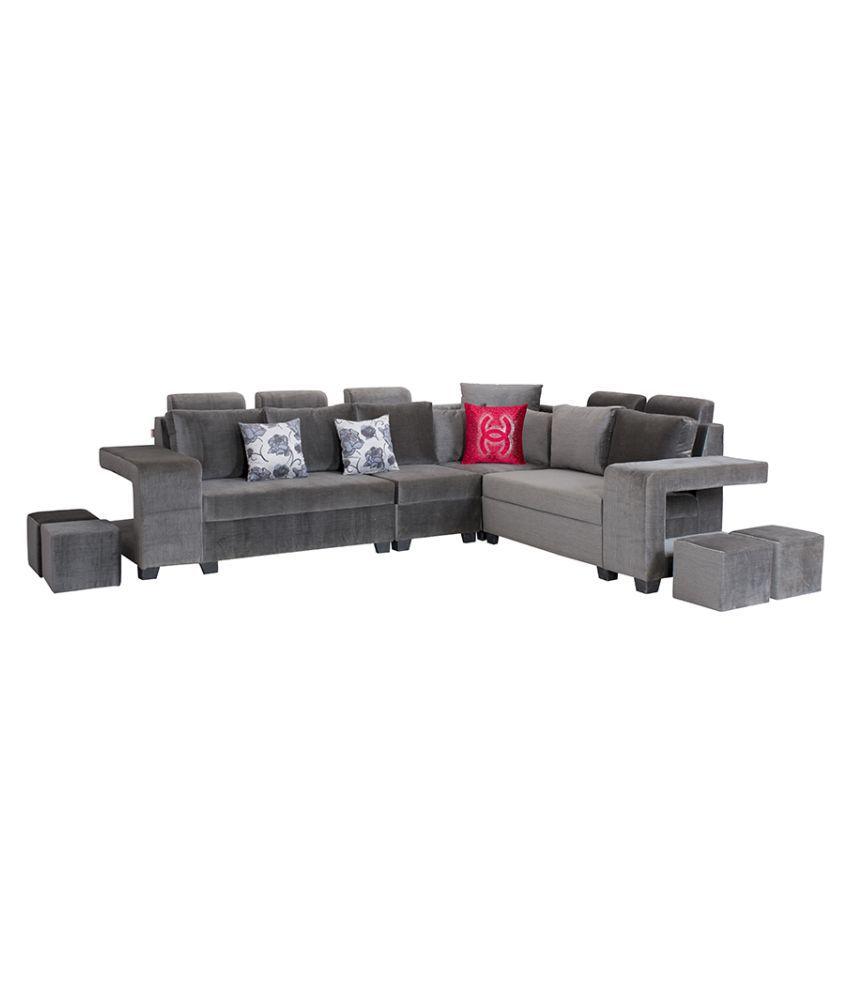 Bharat Lifestyle Square Puffy L Shape Grey Fabric Sofa Set 2 1