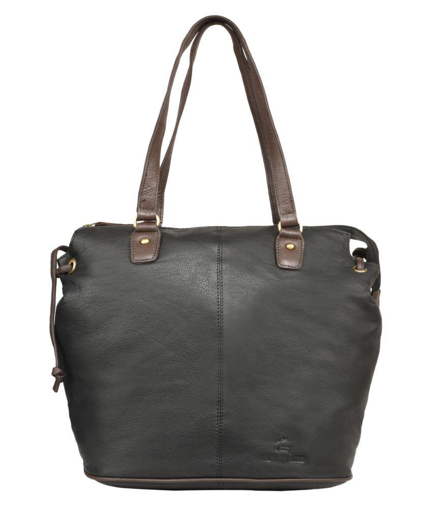 Leaderachi Black Pure Leather Shoulder Bag