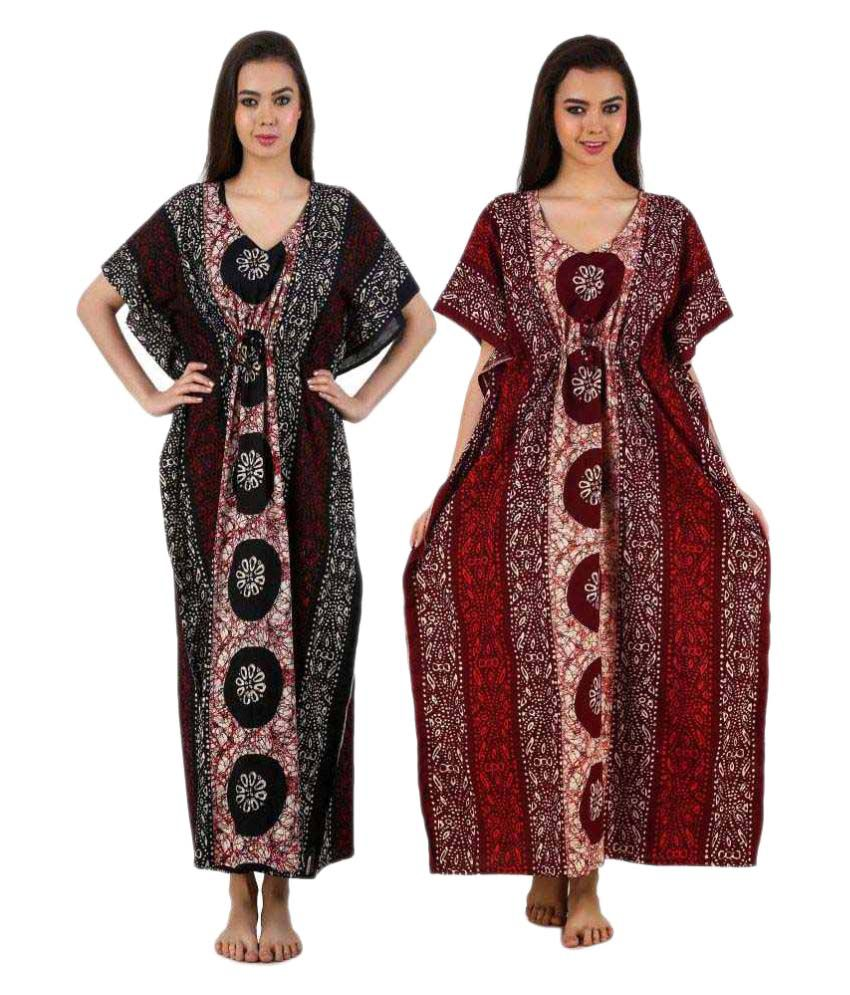 a03236c1d4 Buy Masha Women s Cotton Kaftan Nighty 2Pcs Combo Set Online at Best Prices  in India - Snapdeal
