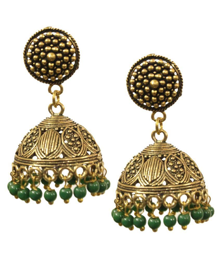 Kaizer Jewelry Stunning Textured Stud Gold toned Oxidised Jhumki